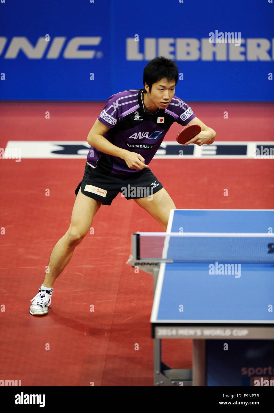 ISS Arena Duesseldorf, Allemagne 16.10.2014, Liebherr Coupe du monde de ping-pong , Jun Mizutani (JPN) Photo Stock