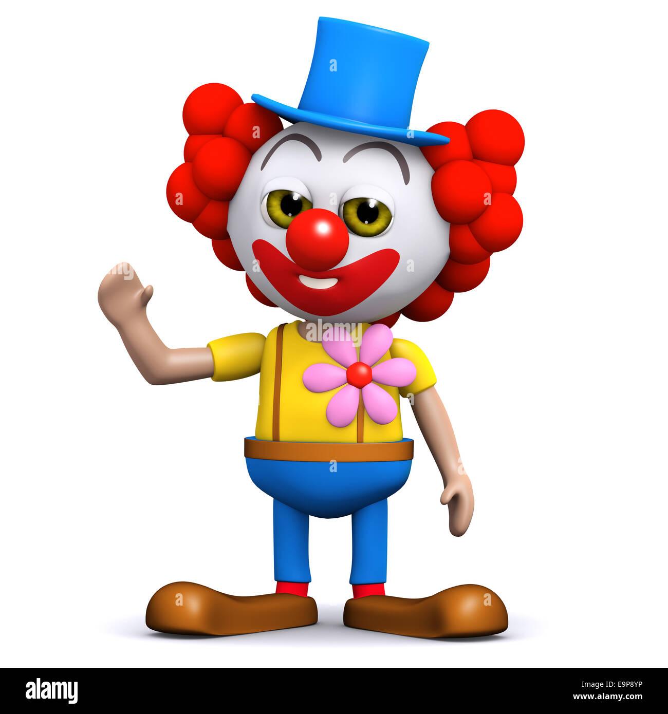 Drole De Personnage 3d Clown Vagues Un Heureux Bonjour Photo Stock Alamy