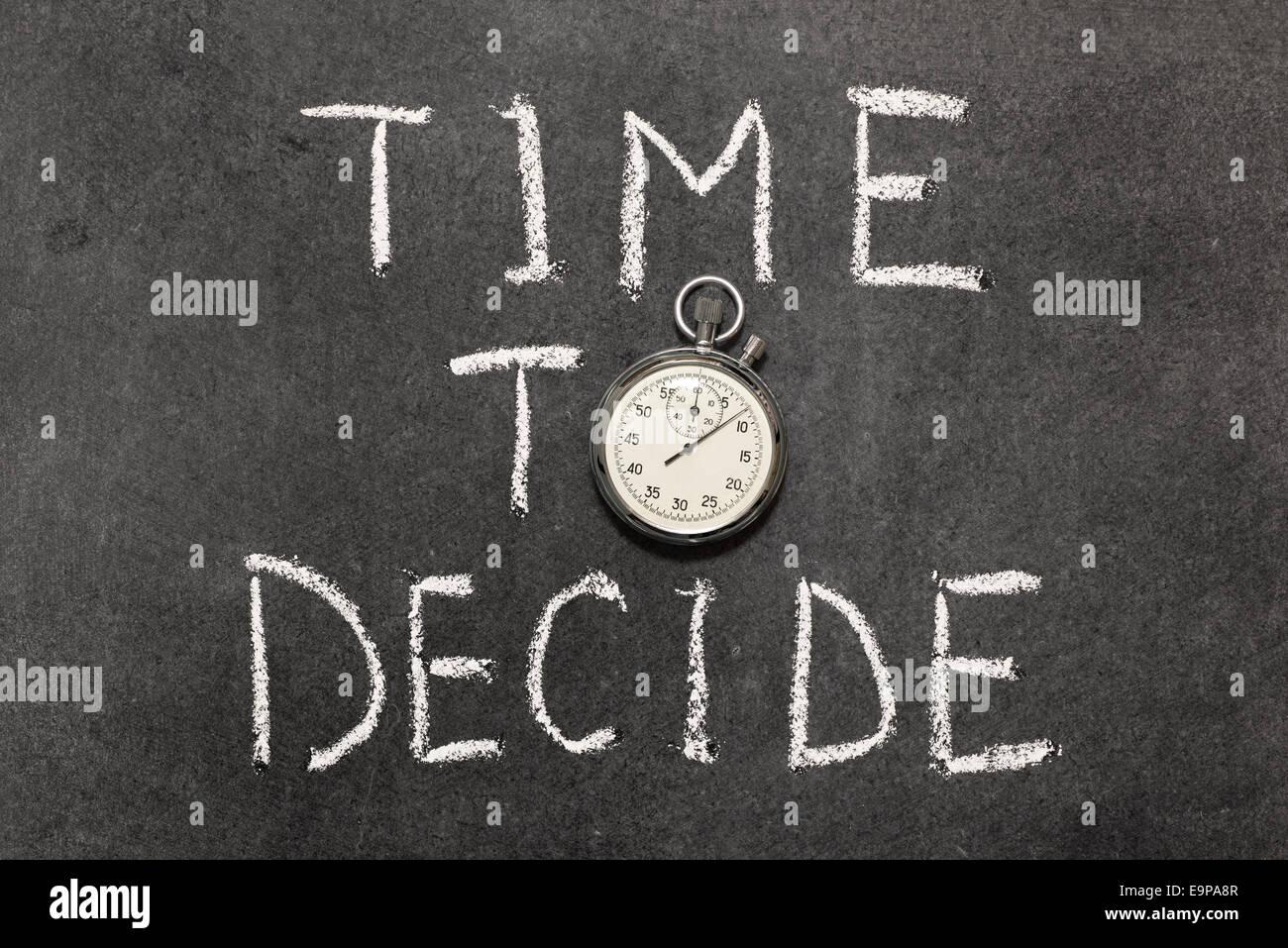 L'heure des choix de phrase avec vintage chronomètre précis utilisé au lieu d'O Photo Stock