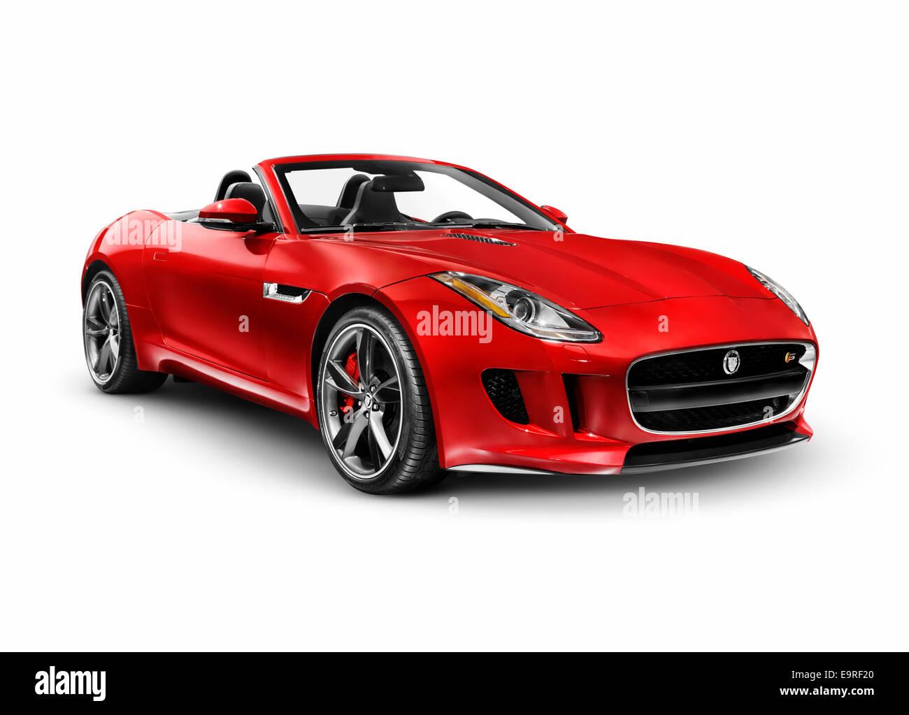 red 2014 jaguar f type s voiture de sport de luxe isol sur fond blanc avec clipping path banque. Black Bedroom Furniture Sets. Home Design Ideas