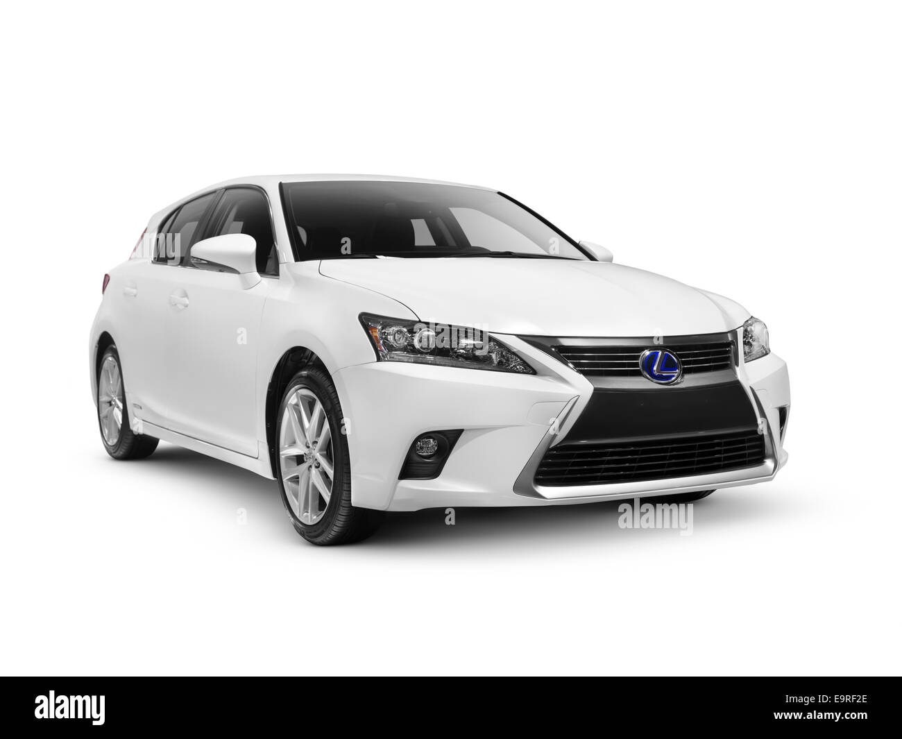 White 2014 Lexus CT 200h hybride de luxe voiture berline compacte isolé sur fond blanc avec clipping path Photo Stock