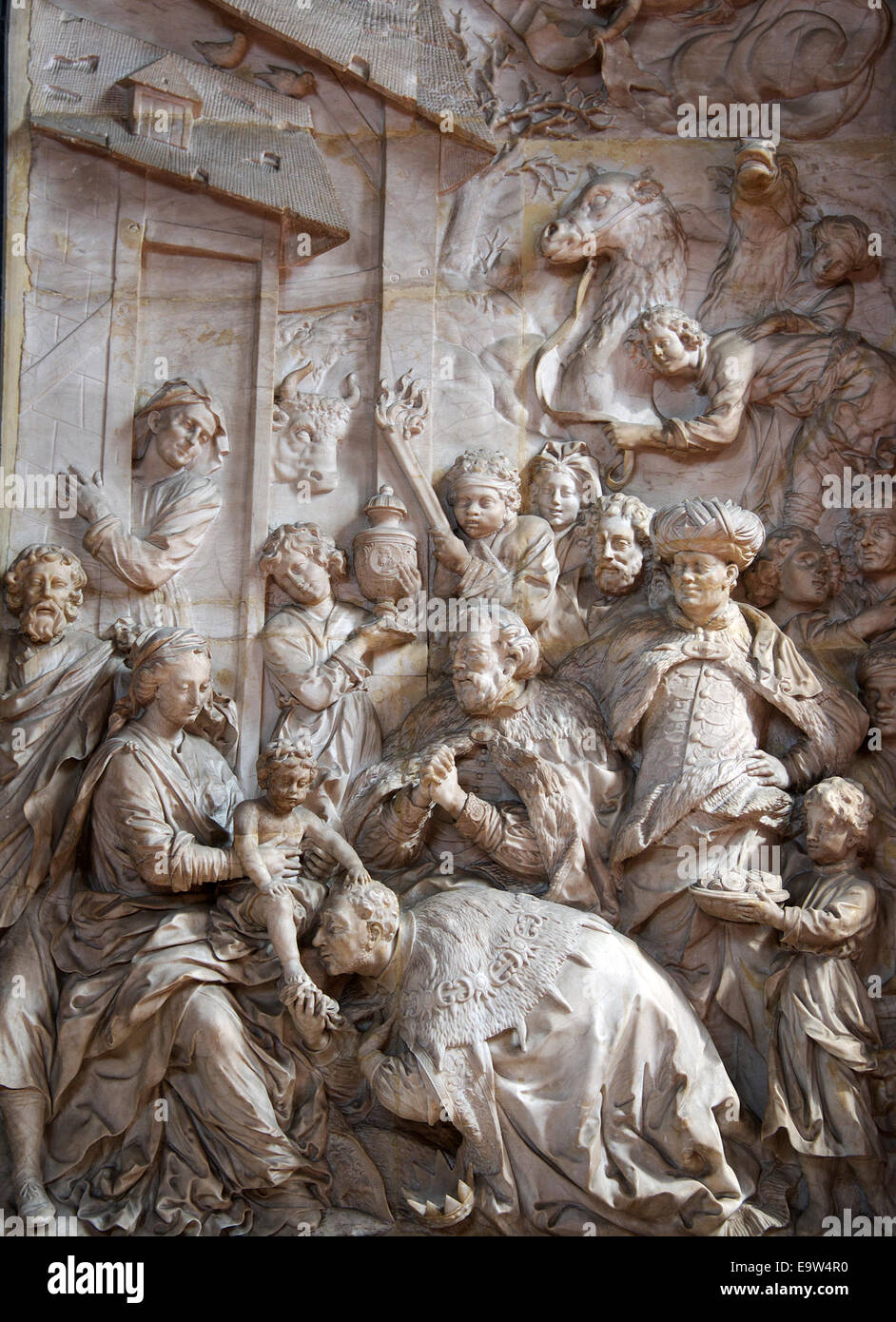 Scène biblique de la Cathédrale Saint Pierre de la vallée de la Moselle, Trèves Allemagne Banque D'Images
