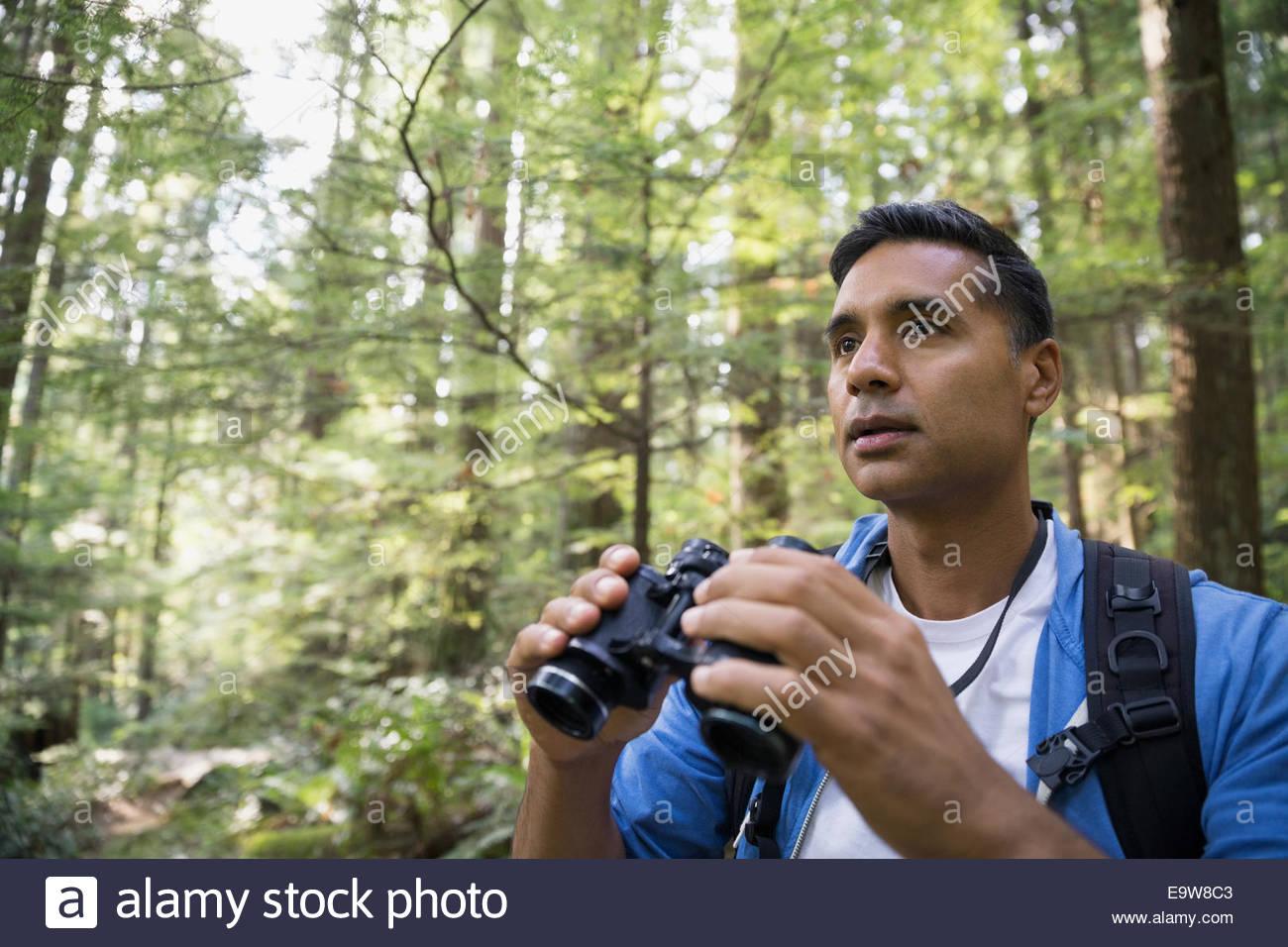 Homme avec les jumelles dans woods Photo Stock