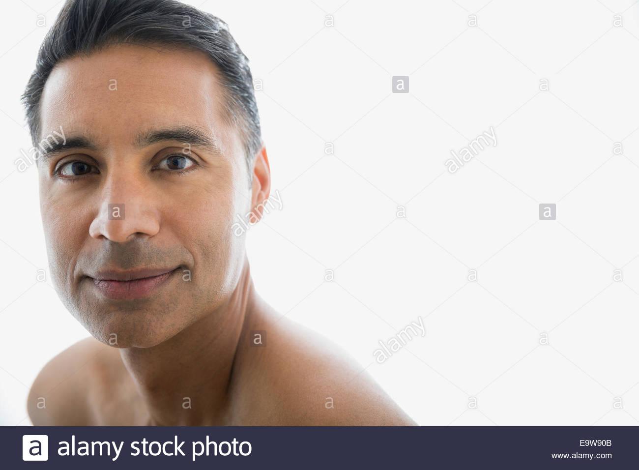 Close up portrait of smiling torse nu homme Photo Stock