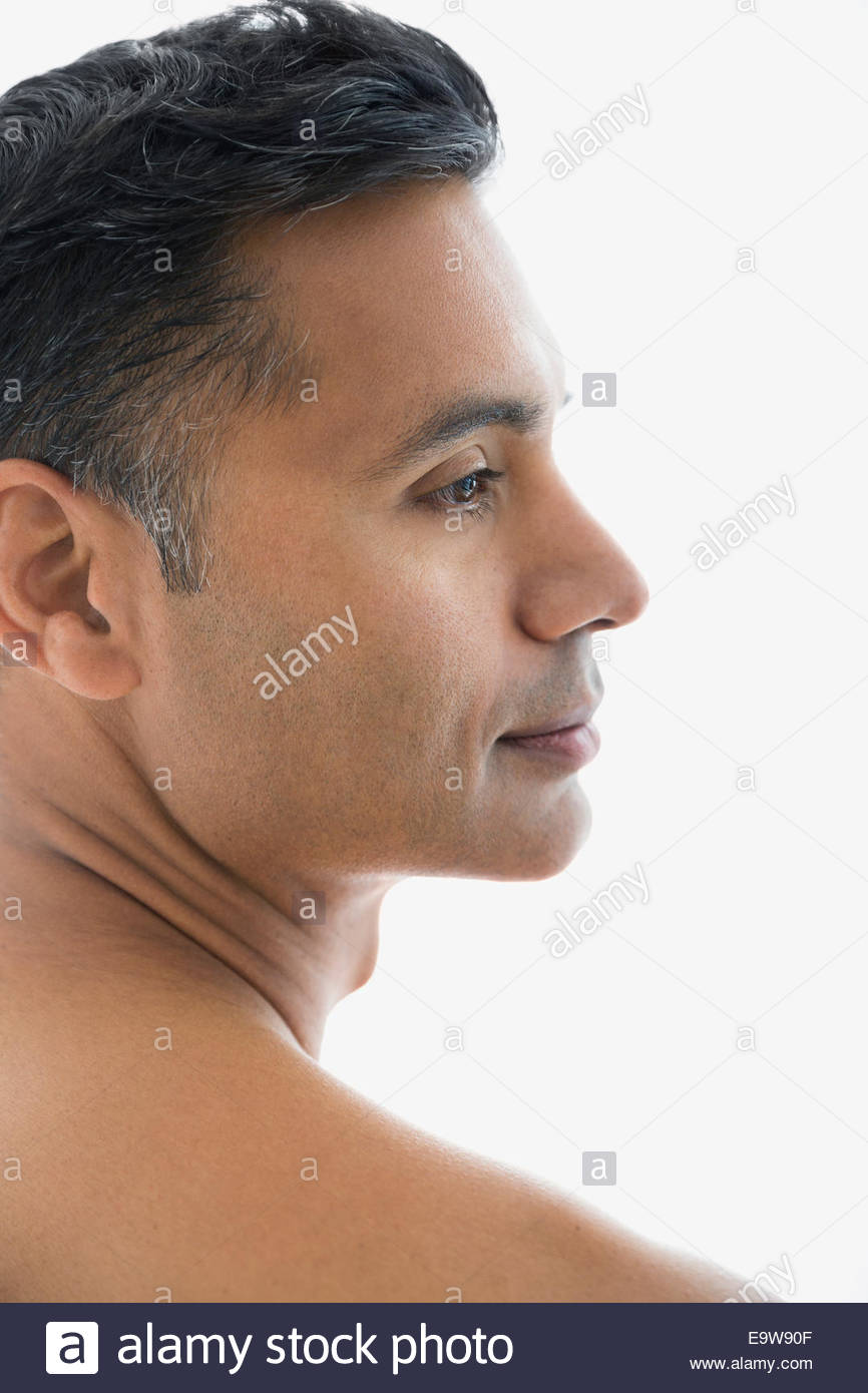 Close up of pensive man with bare chest Photo Stock