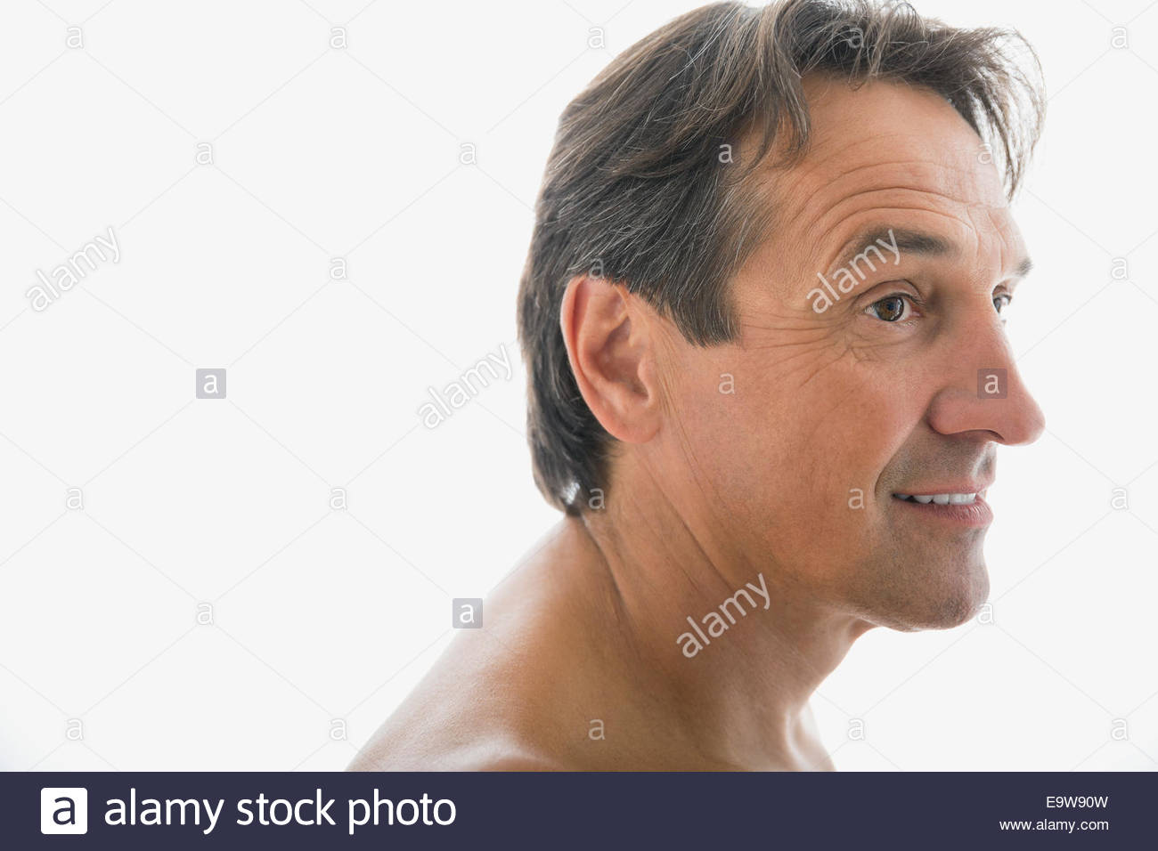 Portrait d'homme torse nu à la suite Photo Stock