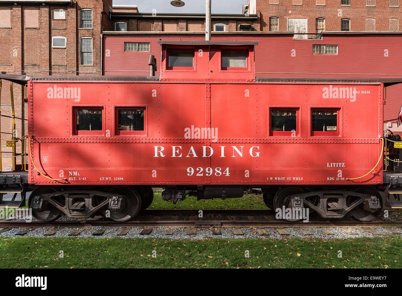Lecture historique Railroad train voiture, Lititz, Pennsylvania, USA Banque D'Images