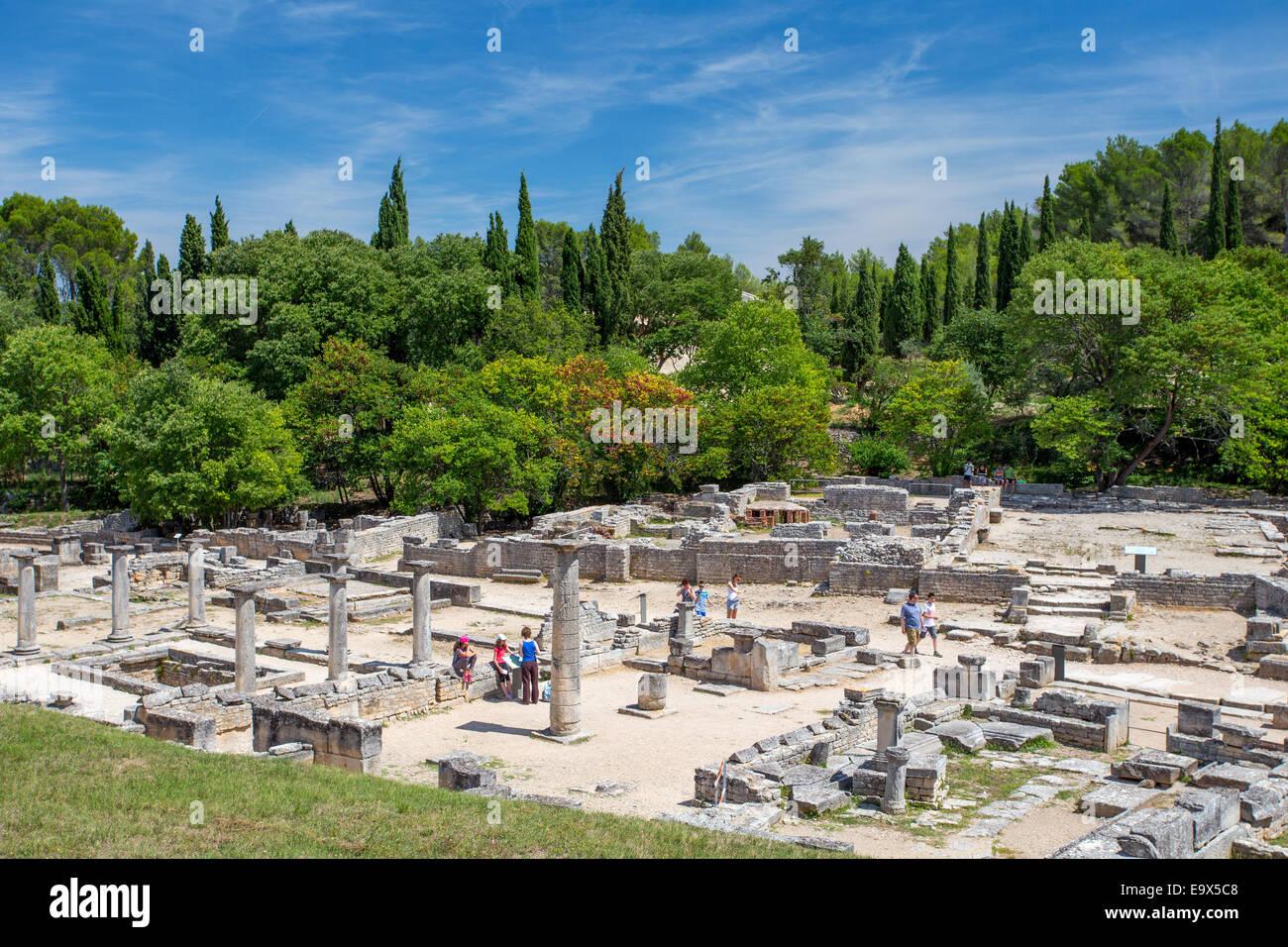 Ruines de la ville romaine de Glanum à St Rémy de Provence, Provence, France Photo Stock