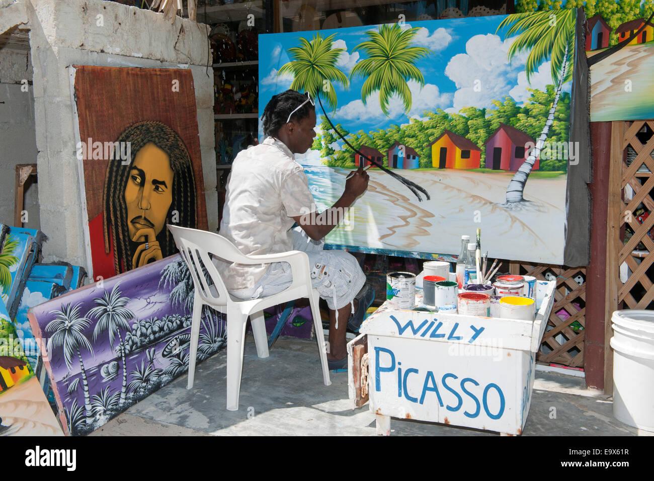 Dominikanische Republik, Osten, Punta Cana, Bavaro, Maler 'Willy' Picasso am Weg zum Strand von El Cortecito Photo Stock