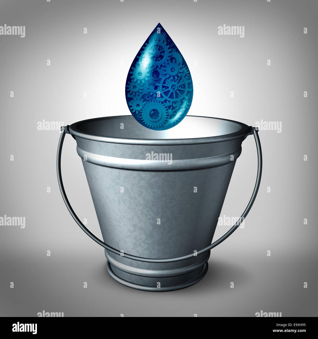 Goutte d'eau dans l'océan de financement financiers concept et le financement social et don de petite Photo Stock