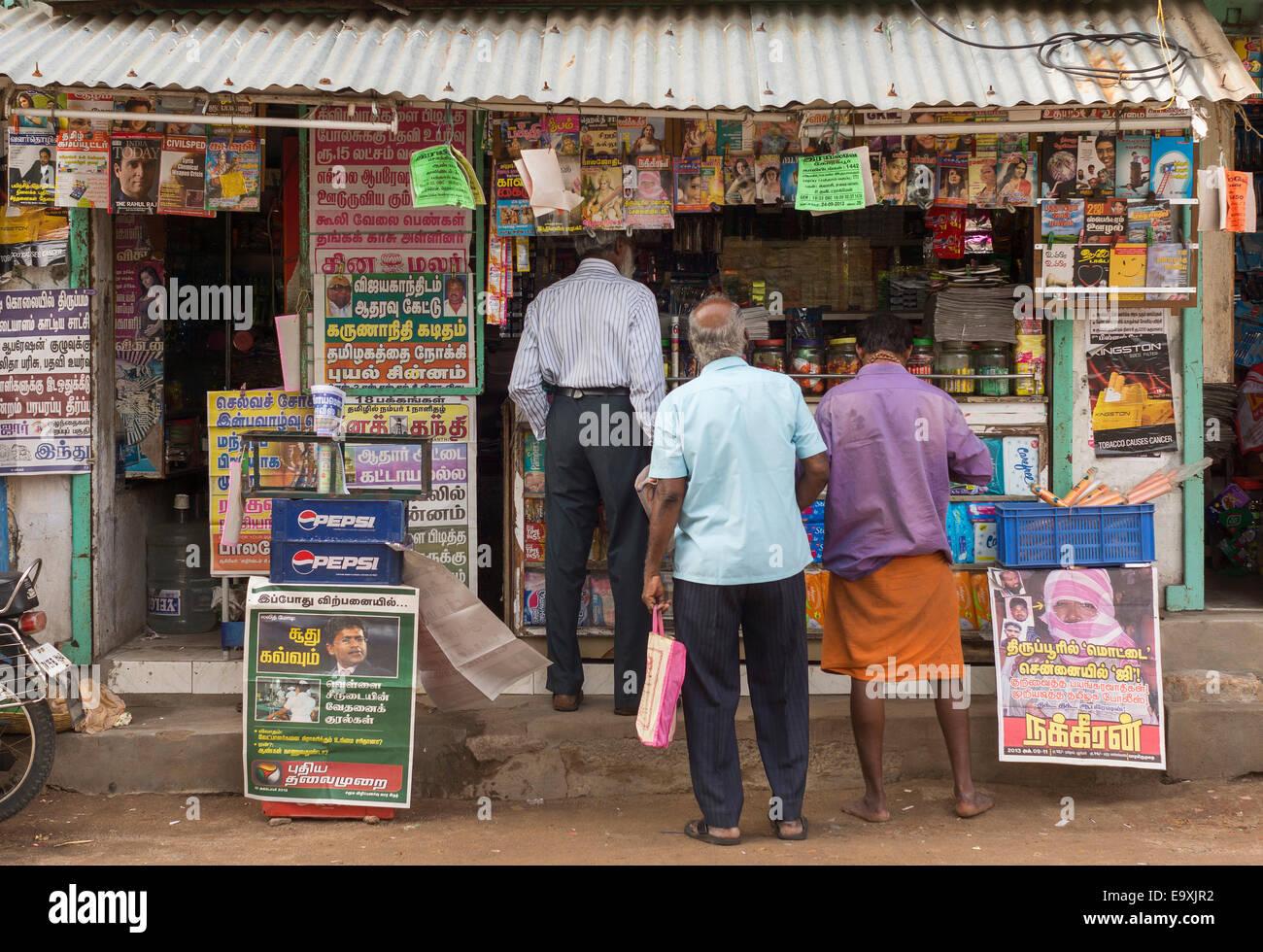 Kiosque à Thiruvanamalaï, Tamil Nadu. Photo Stock