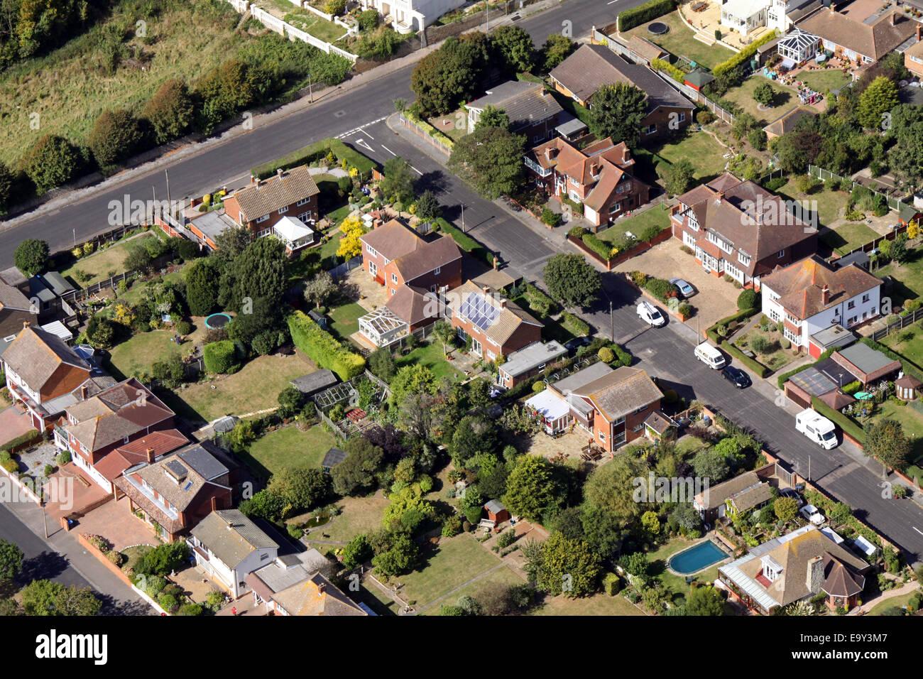 Vue aérienne de maisons typiques sur un lotissement au Royaume-Uni Photo Stock