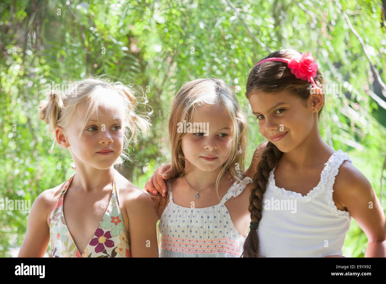 Portrait de trois francs in garden Photo Stock
