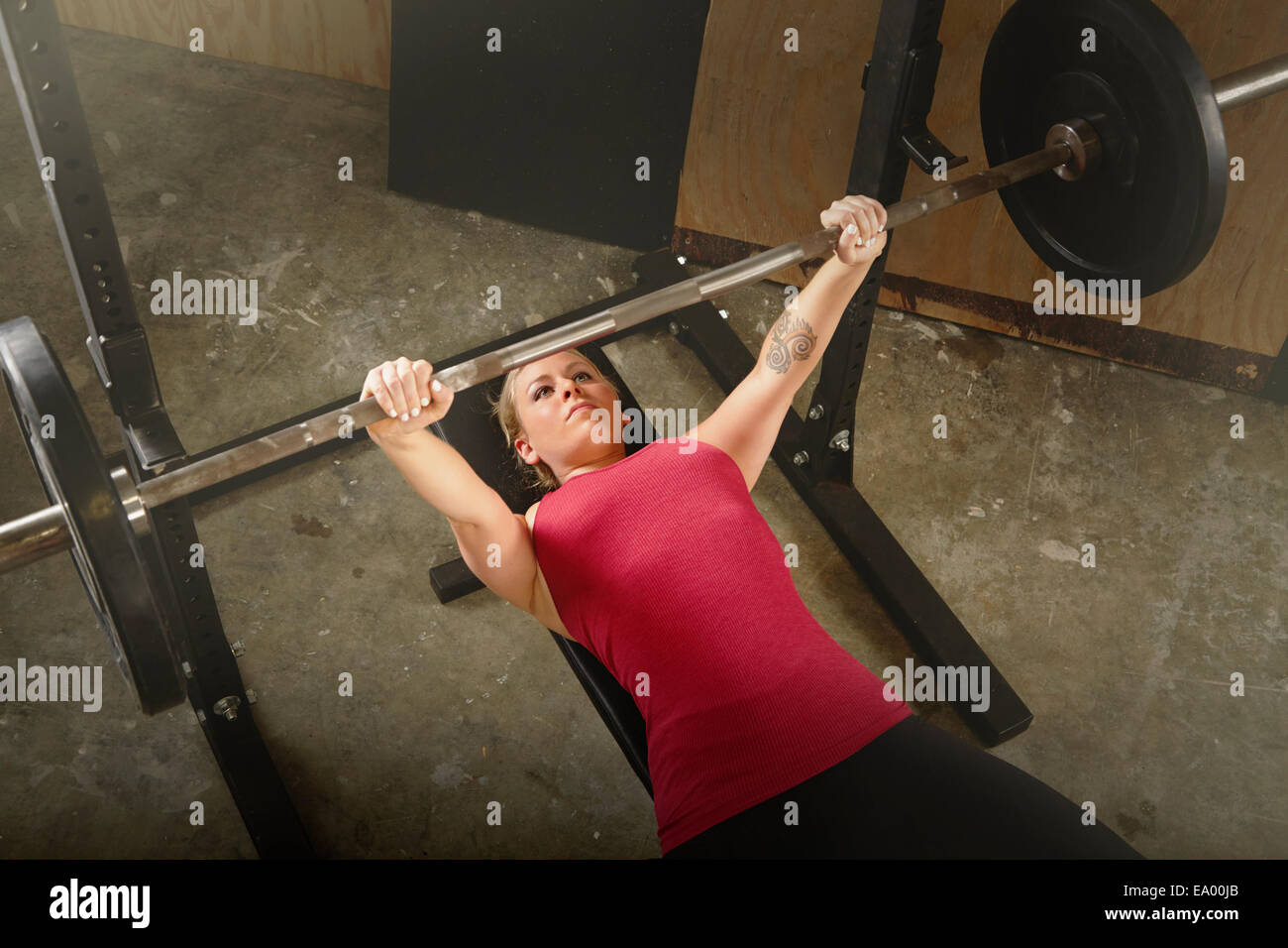 L'haltérophile female barbell levage in gym Photo Stock