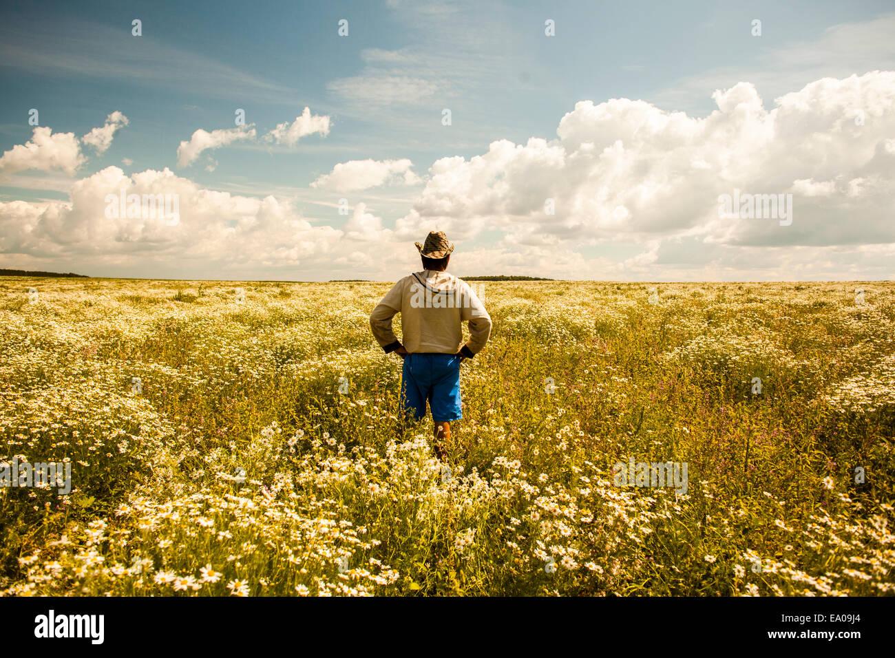 L'homme sur champ de fleurs sauvages, Sarsy village, région de Sverdlovsk, Russie Photo Stock