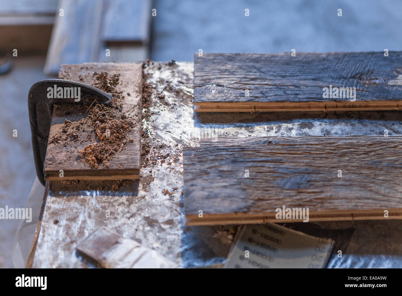 Close up de planches en bois en usine, Jiangsu, Chine Photo Stock