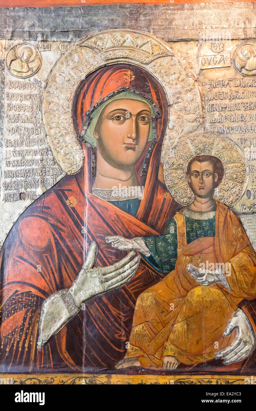 Icône de la Sainte Vierge Eleusa en date du 1342, Musée archéologique, Nessebar (Nessebar), UNESCO Photo Stock