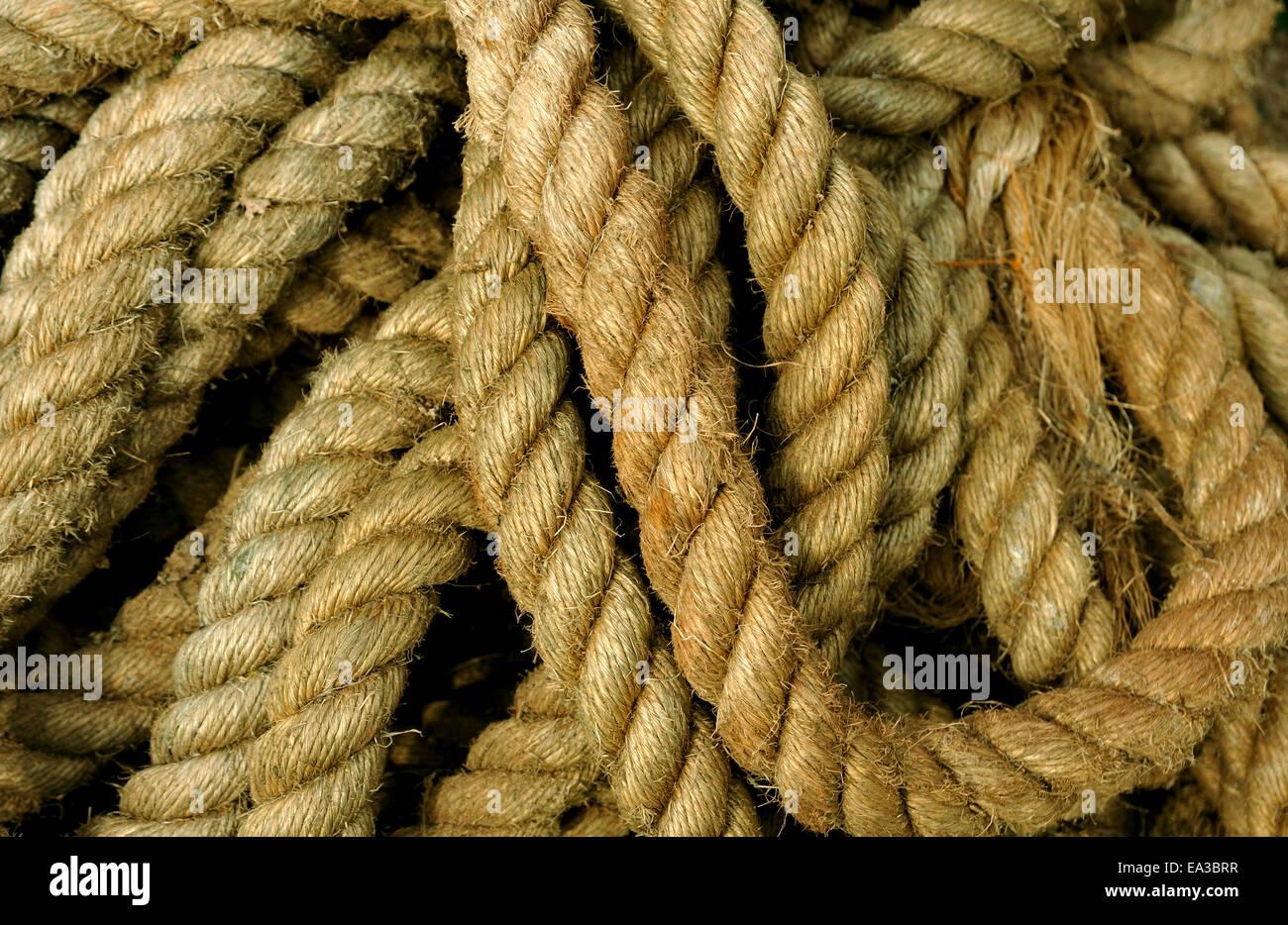 Corde utilisée sur les bateaux de pêche Photo Stock