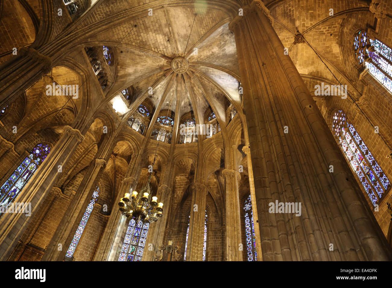 L'Espagne. La Catalogne. La Cathédrale de Barcelone. À l'intérieur. Abside. 13e siècle. Photo Stock