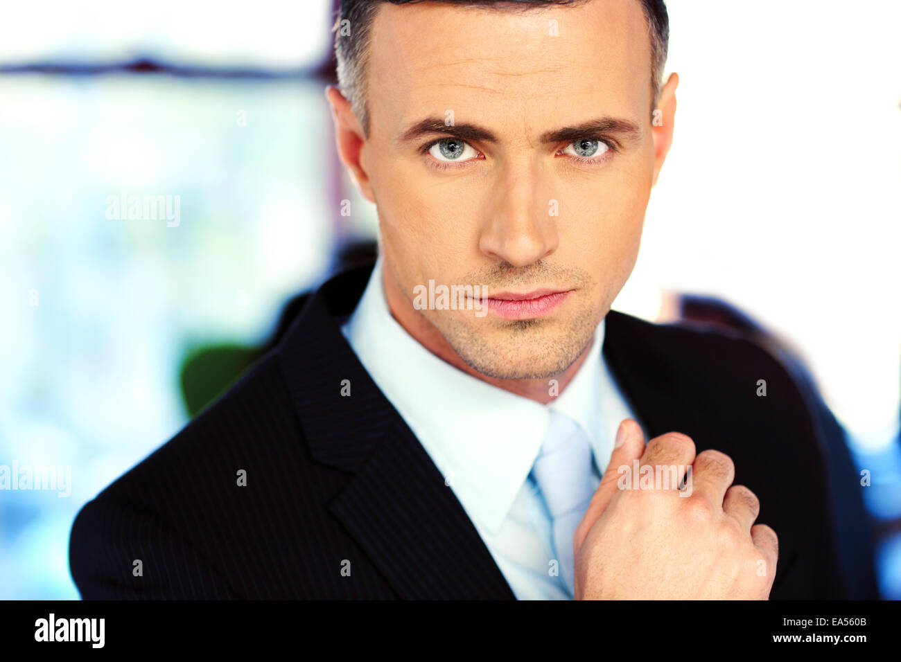 Closeup portrait of a serious businessman Photo Stock