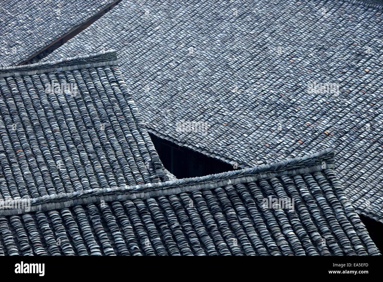 Chine, Guangxi, Ping'an, toits hous Photo Stock