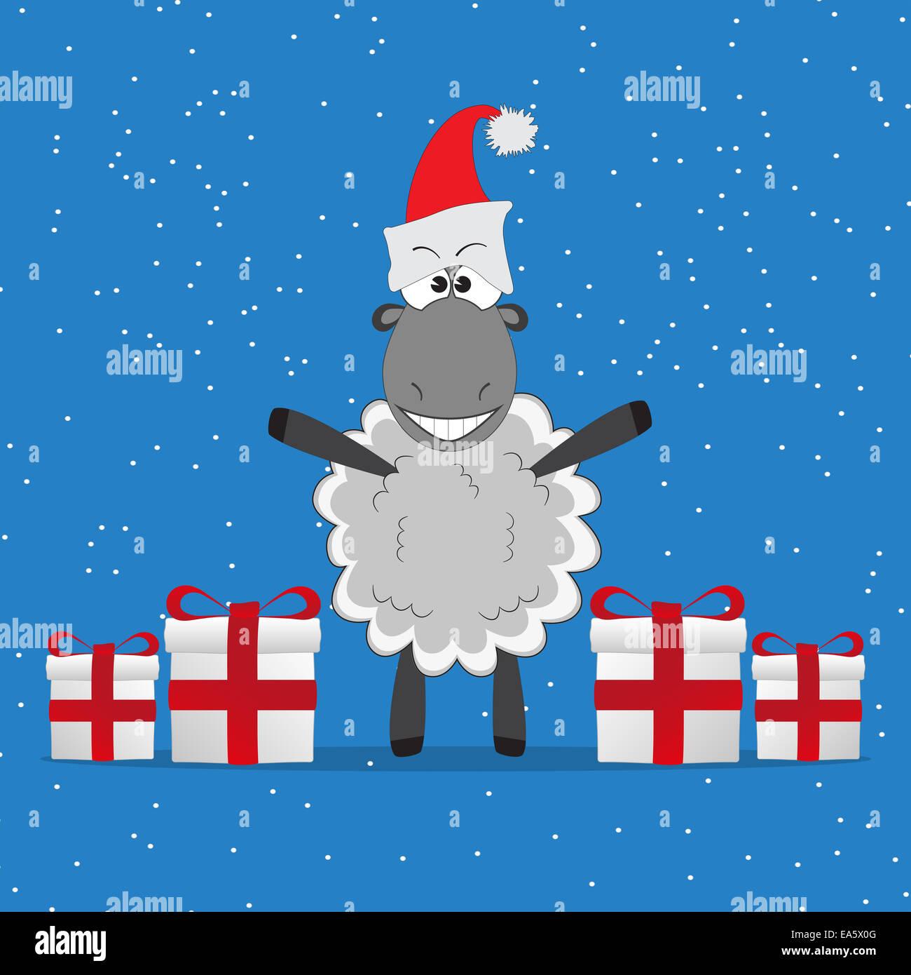 Photo De Noel Drole.Noël Drôle Les Brebis Avec Des Cadeaux Banque D Images
