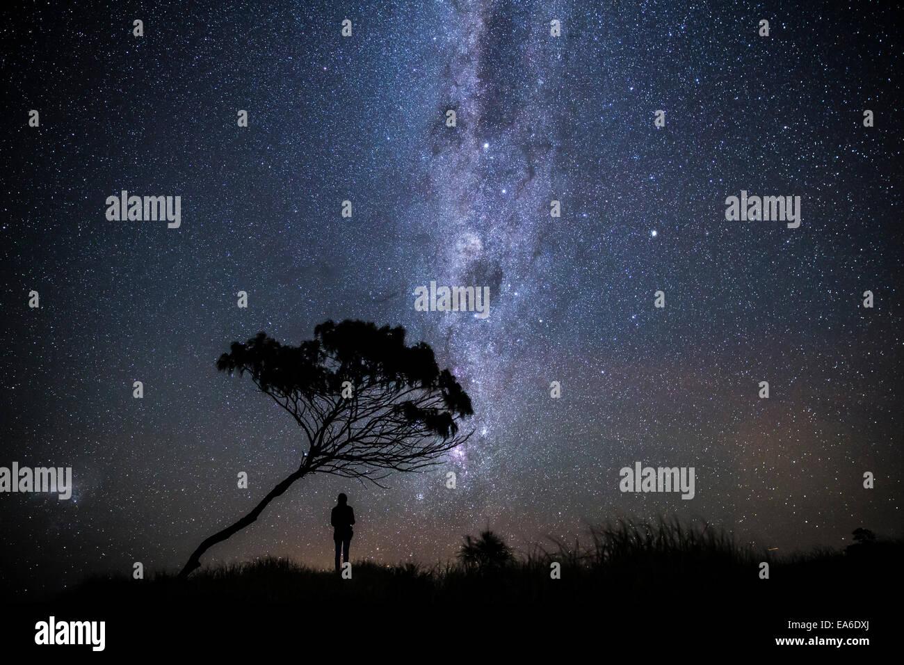 L'Australie, Yamba, homme debout sous les étoiles la nuit Photo Stock