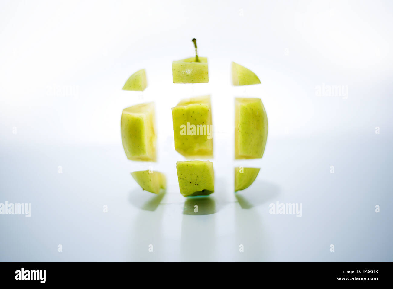 Vue d'apple en morceaux Photo Stock