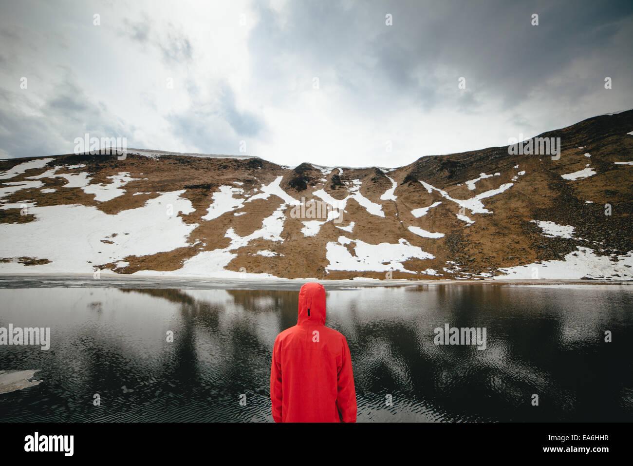 Vue arrière du jeune homme à la recherche à Mountain Lake Photo Stock