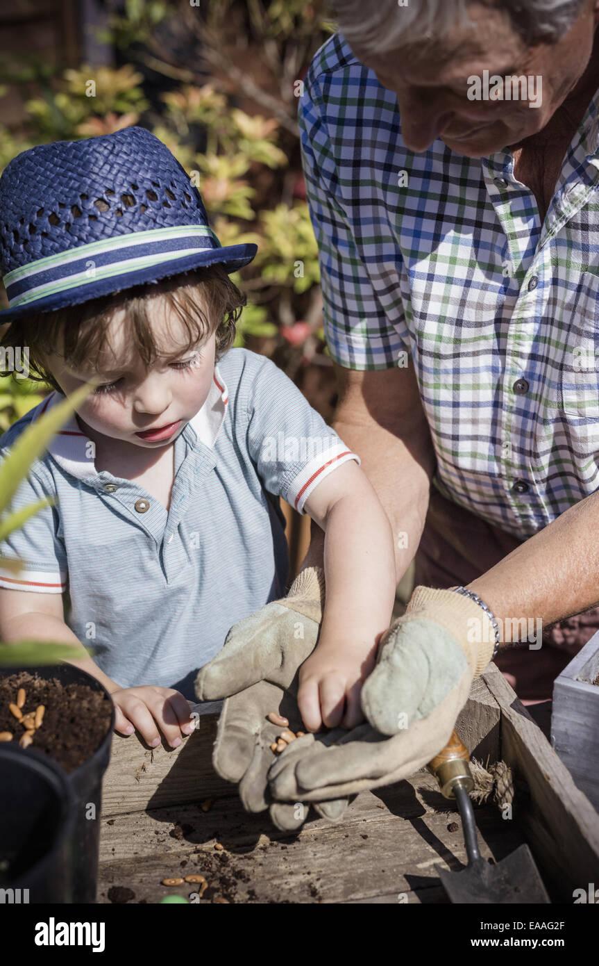 Homme et d'une jeune enfant jardinage, planter des graines. Photo Stock