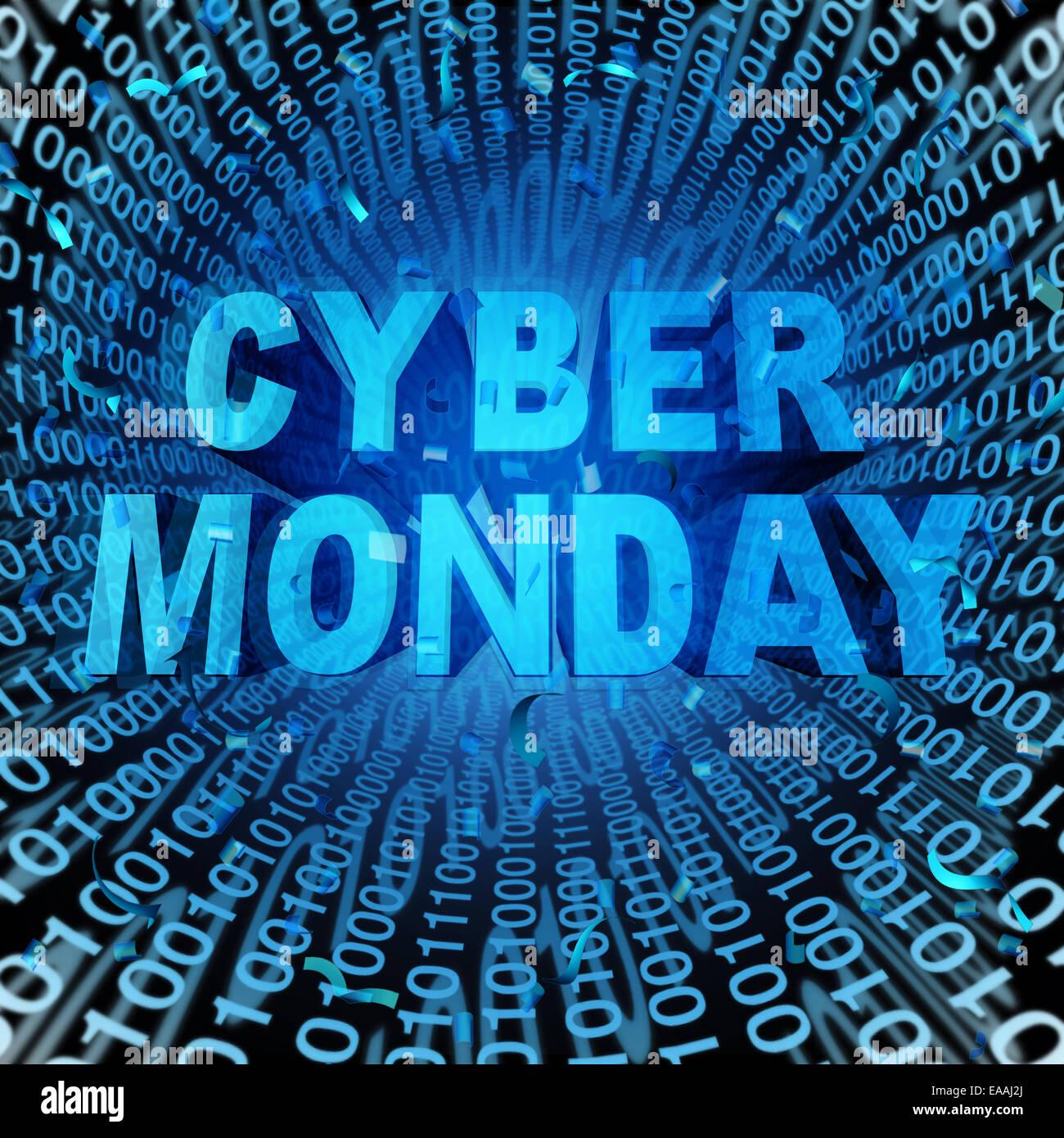 Vente Cyber Monday, symbole et concept de vente en ligne comme une célébration de l'internet pour Photo Stock
