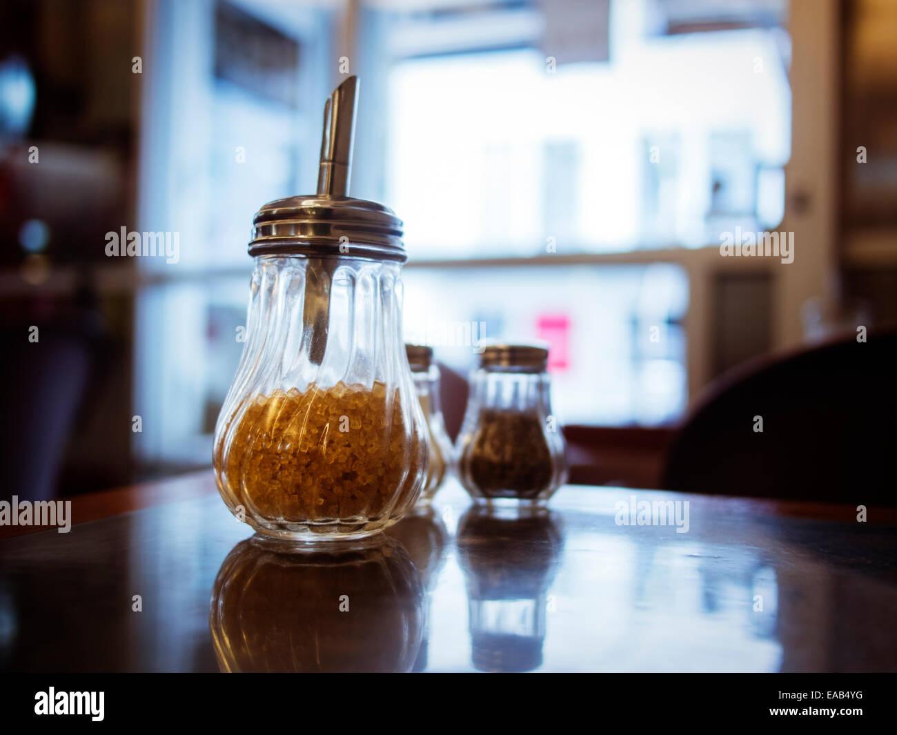 Cafe table, Auckland, Nouvelle-Zélande Banque D'Images