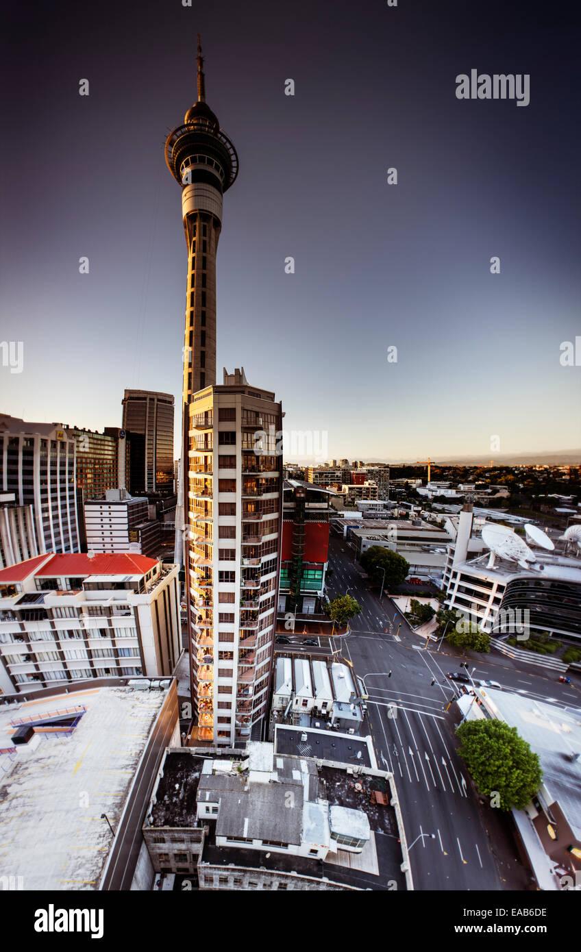 Skytower, Auckland. 4 Aperçu de l'image panoramique vertical Banque D'Images