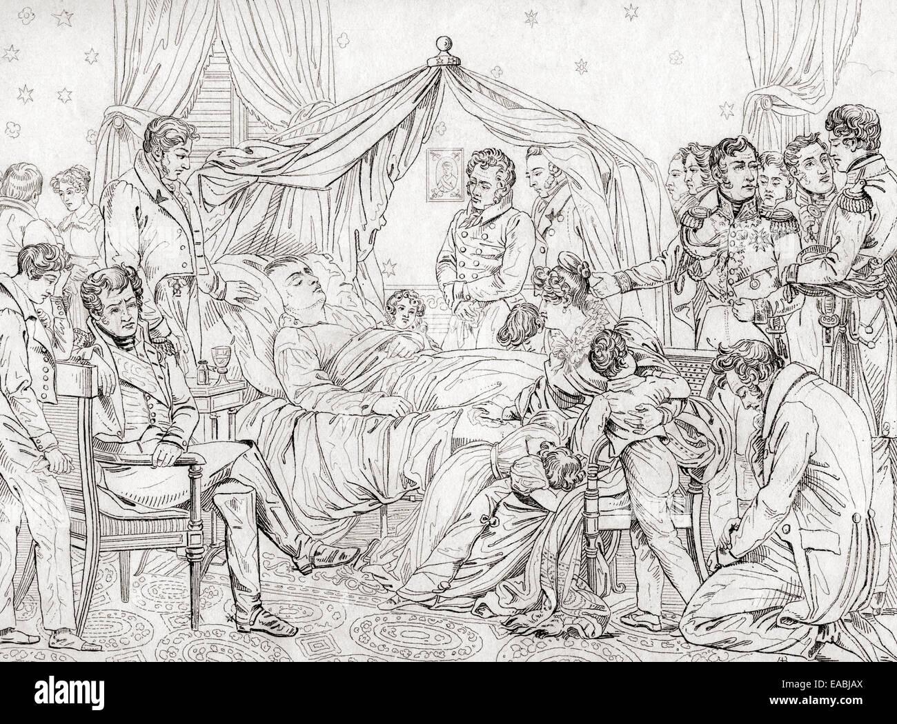 La mort de Napoléon, le 5 mai 1821, à Longwood House, Sainte-Hélène. Après la peinture de Charles Auguste Steuben. Banque D'Images