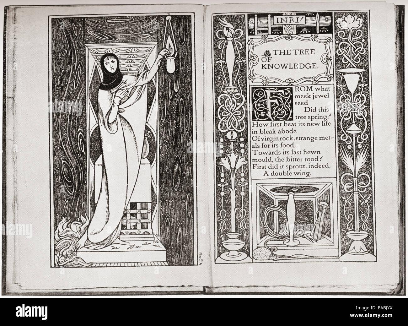Page décoration de John Gray's poèmes spirituels par Charles de Sousy Ricketts. Banque D'Images