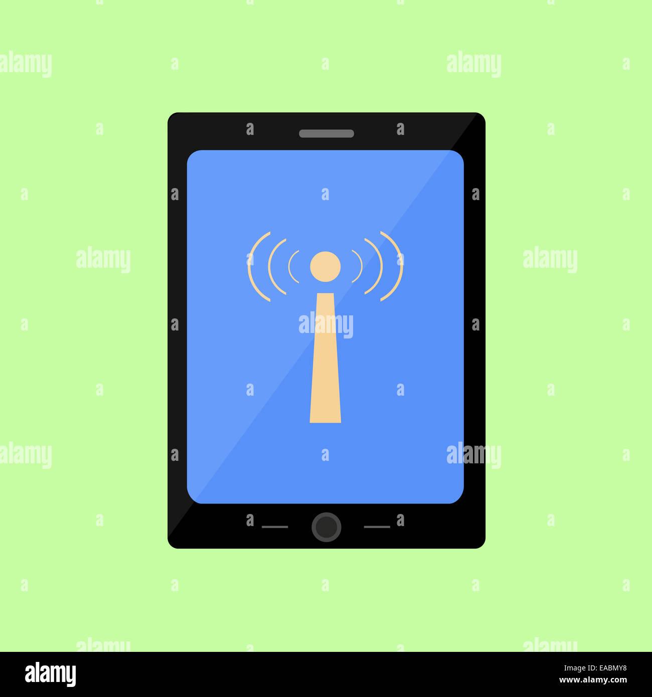 Style plat pavé tactile avec icône wi-fi Photo Stock