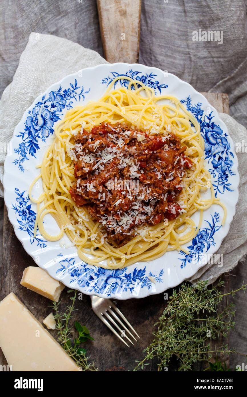Spaghettis à la bolognaise Photo Stock