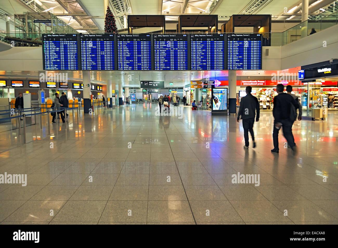 Zone de départ, l'aéroport de Munich, l'aéroport Franz Josef Strauss de Munich, Bavaria, Photo Stock