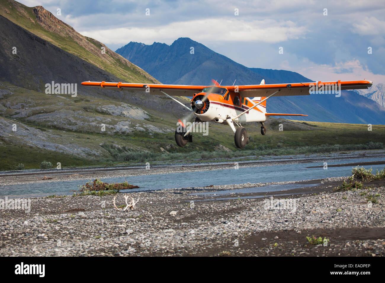 Avion de brousse,rivière Canning,arctic refuge,arrivant Photo Stock