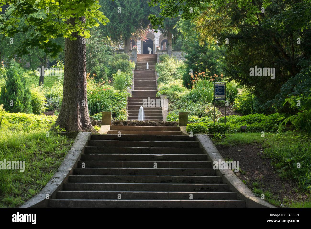 Escaliers dans le parc de la Villa Haar, 1885, maintenant un événement et lieu de conférence, parc Photo Stock