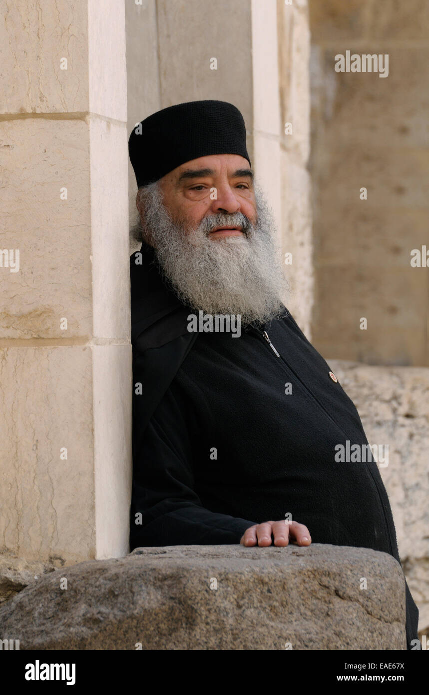 Clerc grec orthodoxe, Jérusalem, district de Jérusalem, Israël Banque D'Images