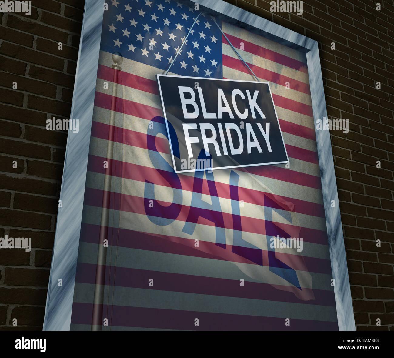 Le vendredi noir maison de vente sur un magasin d'enseigne fenêtre avec un drapeau américain la réflexion Photo Stock