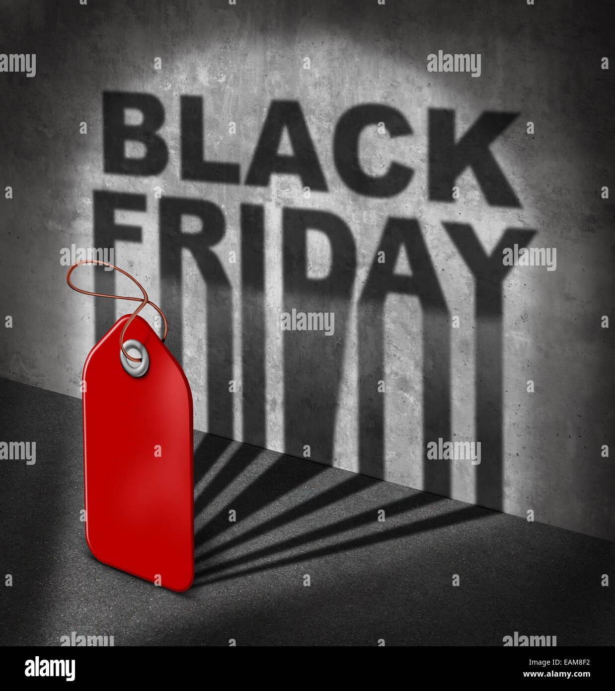Le vendredi noir vente concept comme une étiquette de prix rouge jette une ombre sur un mur avec du texte comme Photo Stock