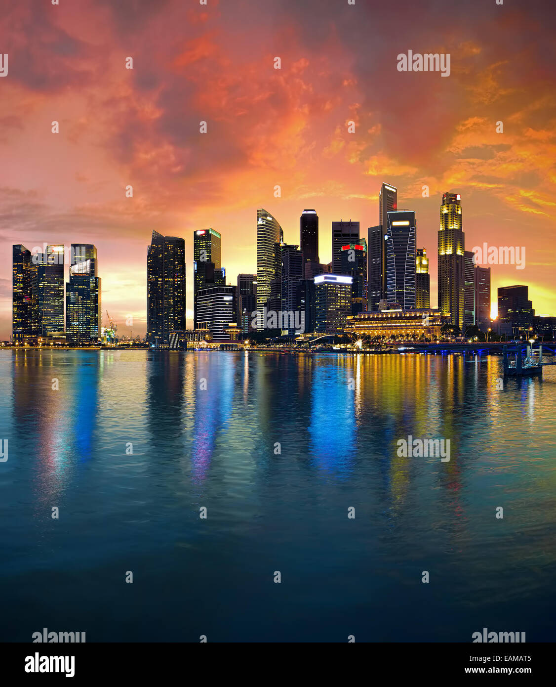 Singapour Skyline at sunset Photo Stock