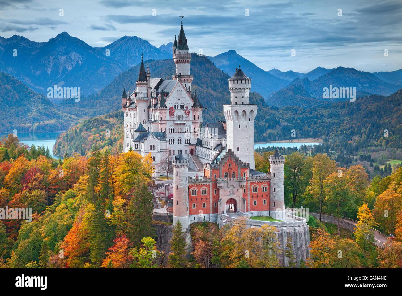 Le château de Neuschwanstein, Allemagne. Photo Stock