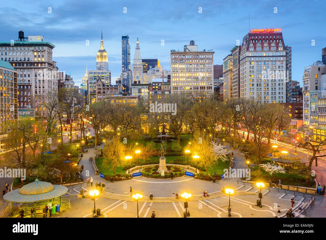 La ville de New York, USA cityscape at Union Square à Manhattan. Photo Stock