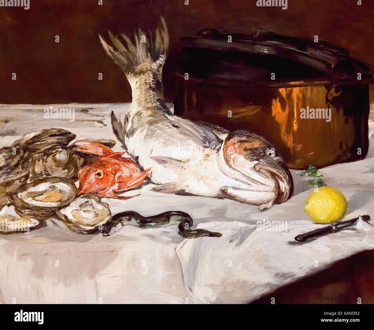 Poissons La vie encore Édouard Manet Photo Stock