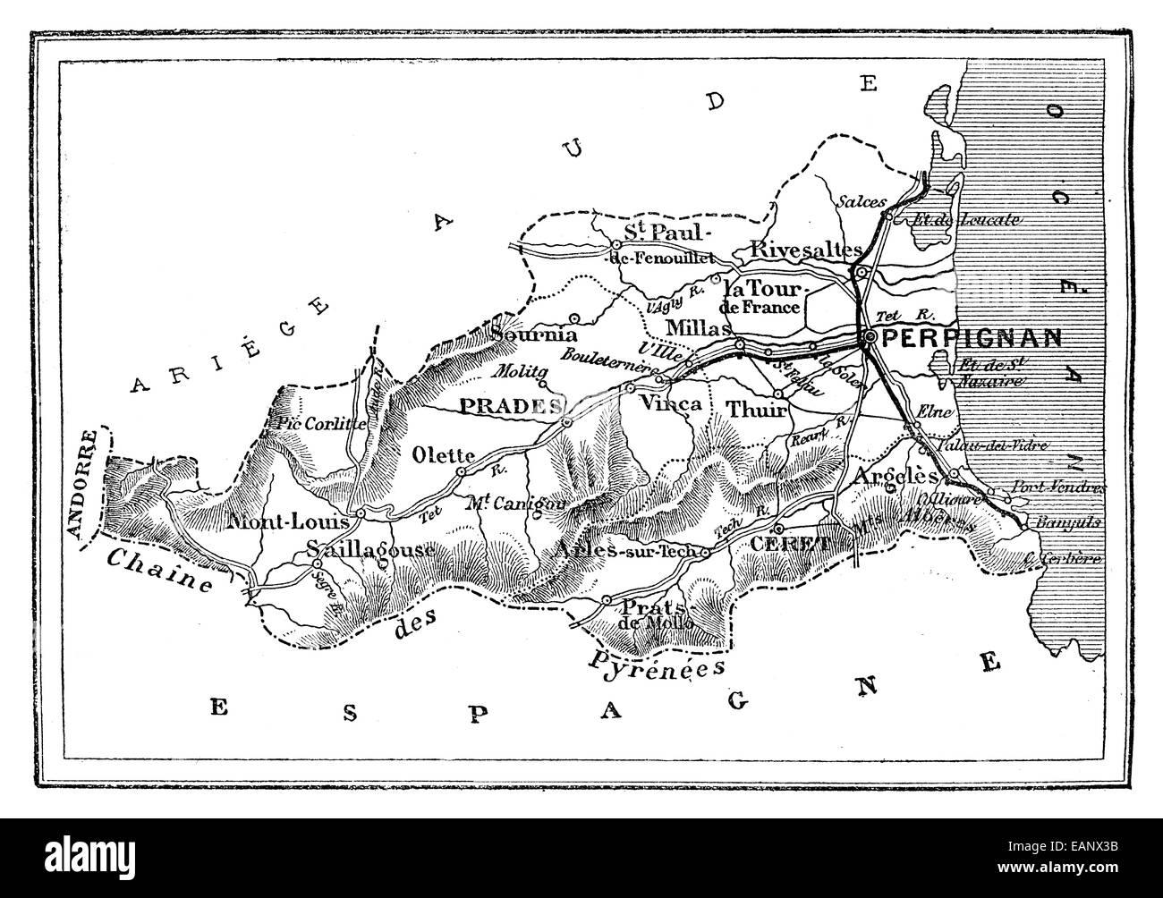 Art Prints PyrÉnÉes-orientales Pyrenees-orientales 1878 Old Antique Map Plan Chart