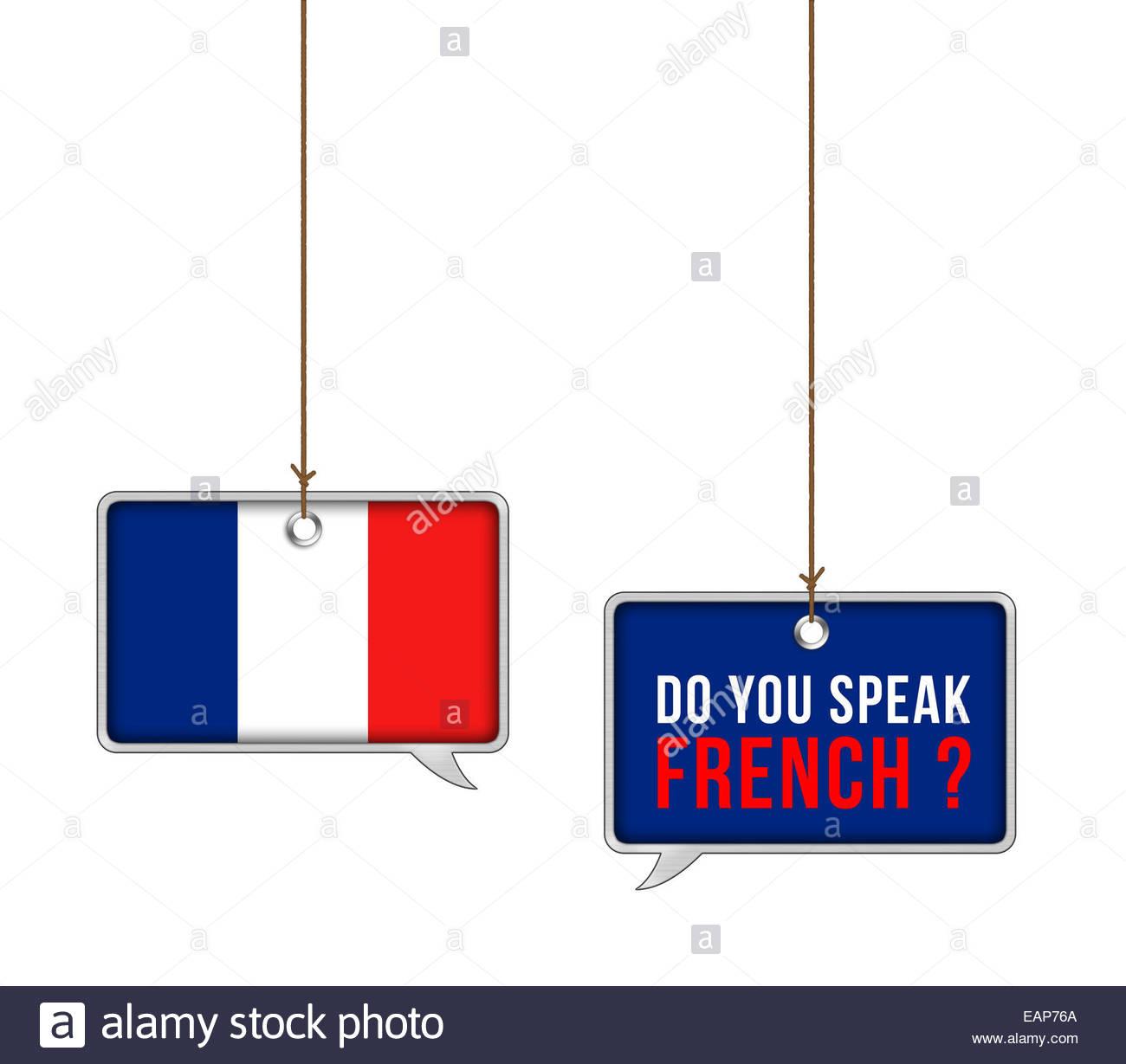 Apprendre la langue française - concept illustration Photo Stock