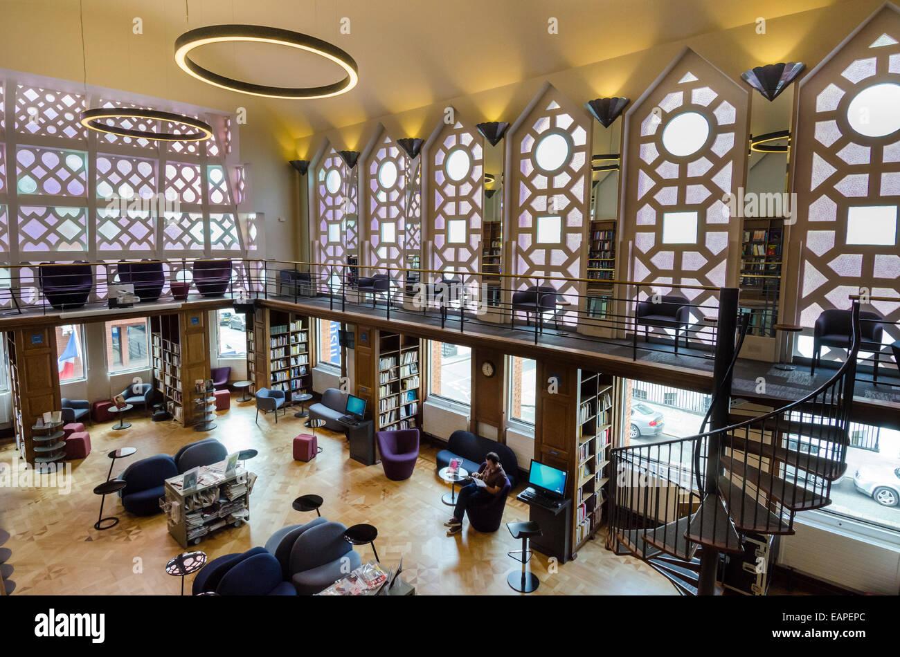 Institut Francais du Royaume-Uni l'Art Déco salle de lecture. Kensington, Londres Photo Stock